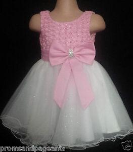 Rosa Marfil Flower Girl Dama De Fiesta Brillante Diamante Vestido De Fiesta 0-6m a 13y  </span>