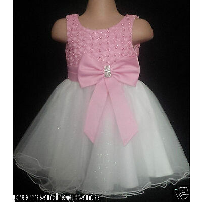Pink Ivory Flower Girl Bridesmaid Prom Sparkly Diamante Party Dress 0-6m to 13y