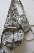 Patti by Hung On U silver reptile print sling shoulder bag purse
