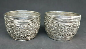ANTIQUE-BEAUTIFUL-BURMESE-BUDDHA-SOLID-SILVER-DRAGONS-BOWLS-90-G