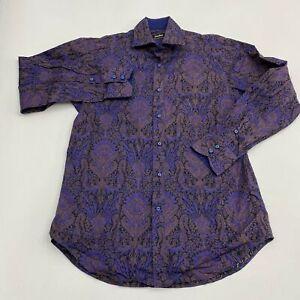 Neiman-Marcus-Button-Up-Shirt-Men-039-s-Size-Large-Long-Sleeve-Black-Purple-Cotton