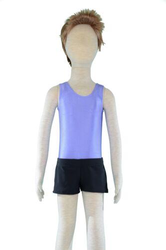 Black Nylon Lycra Square Cut Gymnastics Shorts Gym Sports Boys Home Made