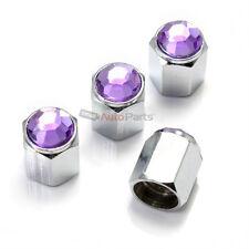 4 Car-Truck Bling Purple Diamond Crystal Chrome Tire/Wheel Air Stem Valve Caps