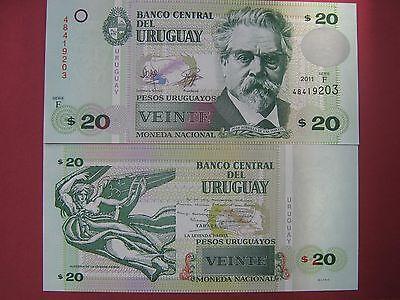 2011 Uruguay 20 Pesos Zorrilla//Manuscript//p86b Series F UNC