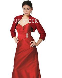 Red-BLue-Black-Soft-Satin-Bolero-Shrug-Jacket-Stole-3-4-Length-Sleeves-XS-S-M-L