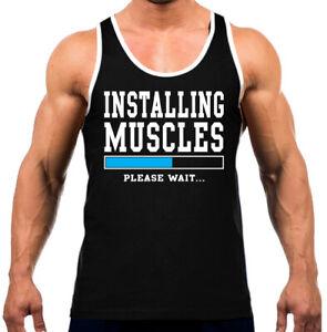 903efc6f5 Men's Installing Muscle Please Wait Black Tank Top WT Gym Fitness ...