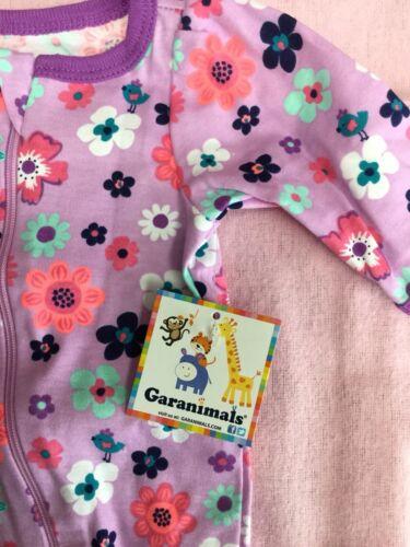 Preemie baby girl footie Garanimals lavender w//bright floral print