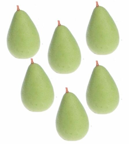 Dollhouse Miniature Set of 6 Realistic Green Pears