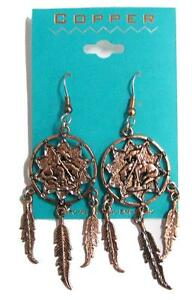 1 PAIR COPPER END OF TRAIL DREAM CATCHER EARRINGS surgical steel indian on horse