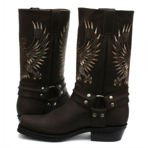 Grinders New Unisex Bald Eagle Boot Brown Biker Cowboy Western Leather Boots