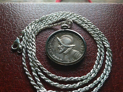 "pre 1912 Guatemalan Reale Crossed Muskets Coin Pendant  28/"" .925 Silver Chain"