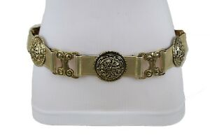 Women Ethnic Vintage Black Faux Leather Belt Gold Metal Round Filigree Charm M L