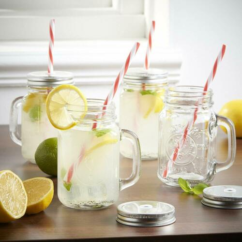 Box of 4 Mason Jar Drinking Glasses with Lids and reusable Straws