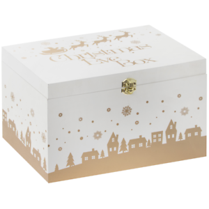Leonardo White and Gold Wooden Christmas Eve Box #LP68453
