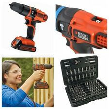 BLACK AND DECKER 18V CORDLESS LITHIUM COMBI HAMMER DRILL COMPLETE KIT