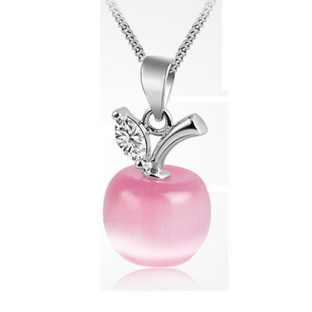Popular 925 silver collarbone necklace apple pendant pink girls new popular 925 silver collarbone necklace apple pendant pink girls jewelry gift mozeypictures Image collections
