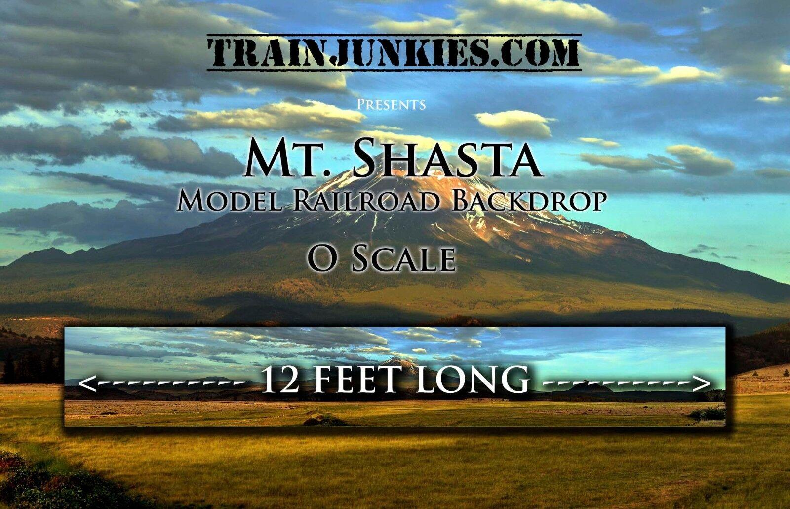 Trainjunkies o escala  Mount Shasta  modelo del ferroCocheril telón de fondo 24x144