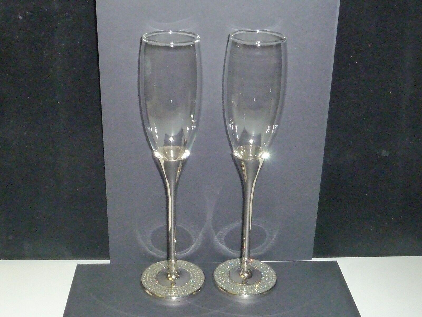 New in Box Glitter Galore Toasting Flute Glasses