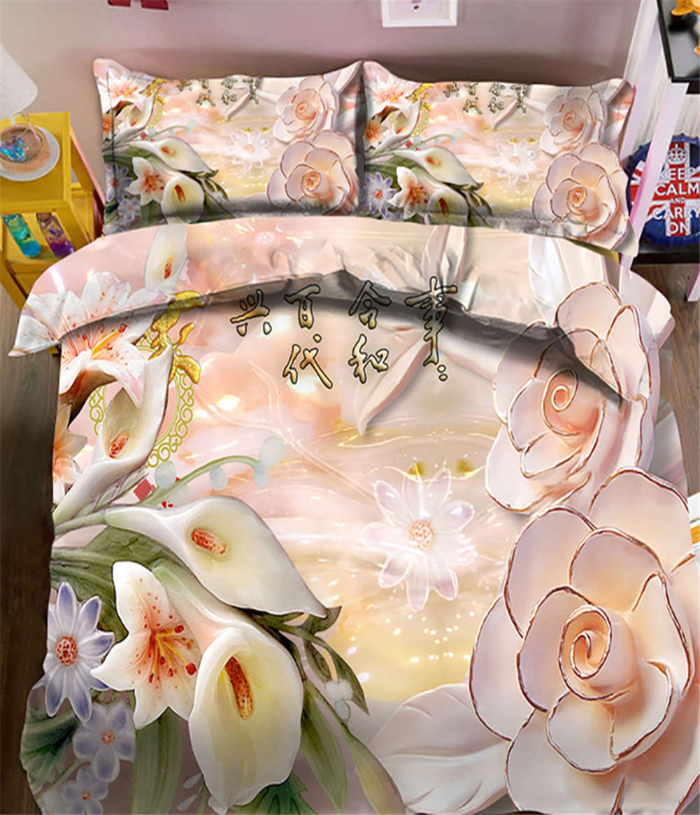 Harmonious Family 3D Druckening Duvet Quilt Will Startseites Pillow Case Bettding Sets