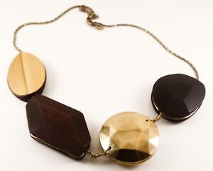 NEXT-STATEMENT-NECKLACE-ABSTRACT-BOHEMIAN-STYLE-GOLD-AND-DARK-WOOD-MULTI-PENDANT