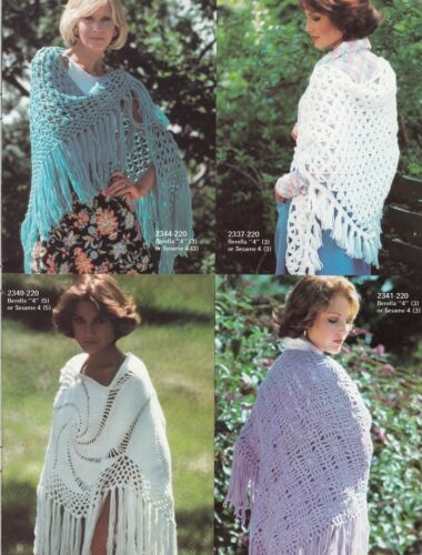40 SHAWL Patterns for Women Vintage Knitting & Crochet Designs Various Plys