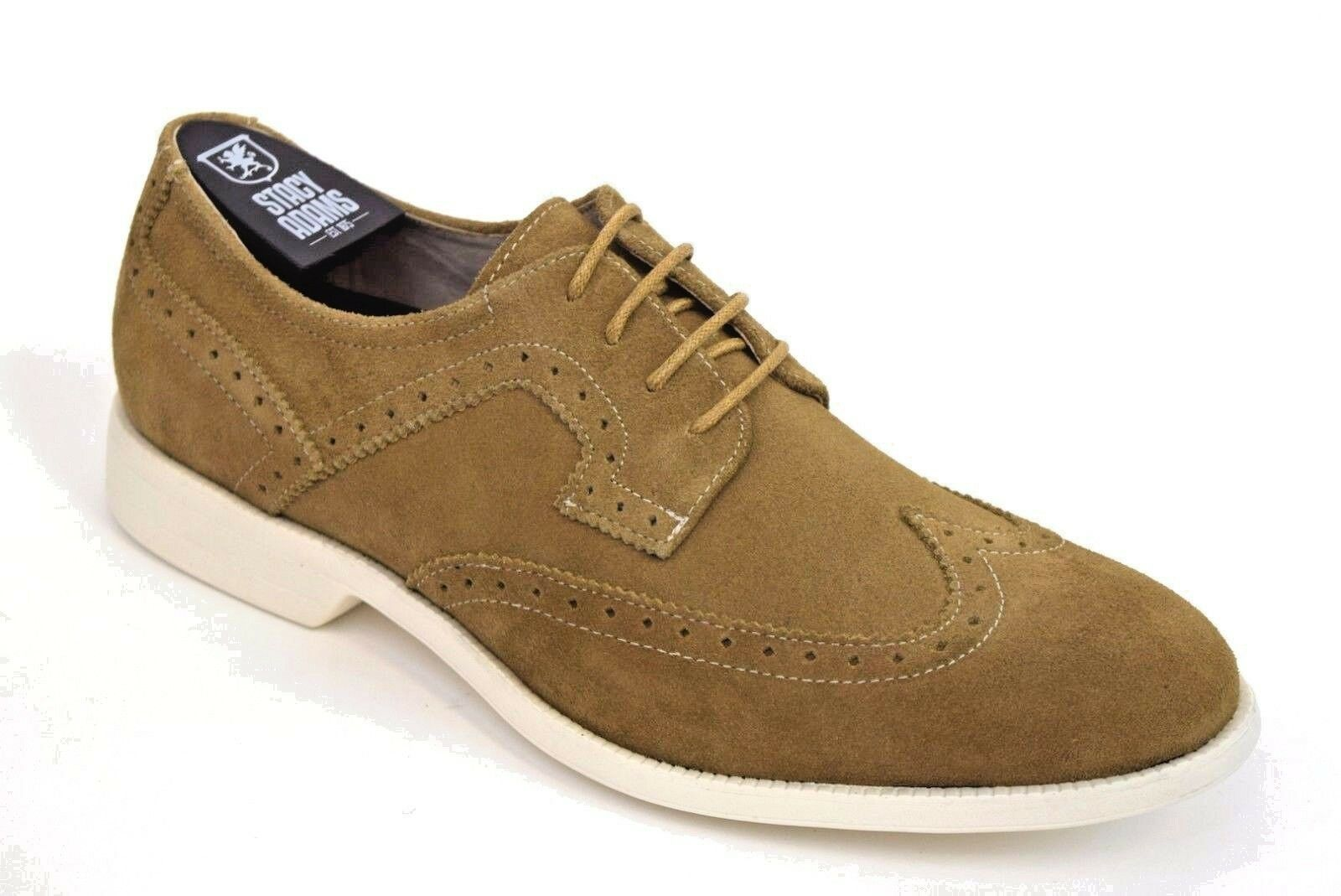 Mens Stacy Adams Dress Casual shoes WESTPORT 25015 Sand Wing Tip Leather Suede