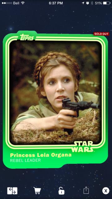 Topps Star Wars Card Trader Base Variant, Green Saber, Princess Leia Organa, 7cc