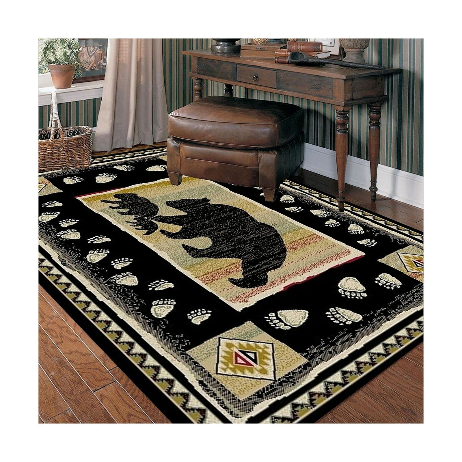 Black Bear Rustic Lodge Area Rug