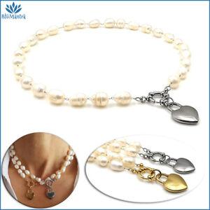 Collana girocollo da donna perle di fiume bianche naturali in acciaio inox per