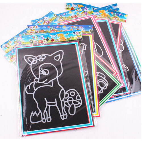 1x Magic Scratch Art Painting Paper With Drawing Stick Kids Educatio//s