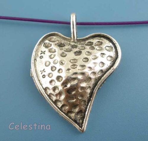 2 argent antique coeur pendentifs coeurs charms-bouffi coeurs pendentif 36mm