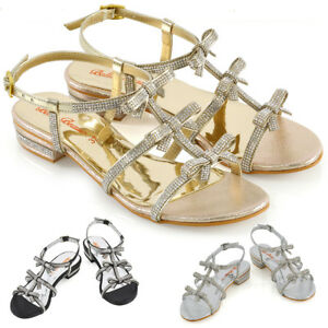 Womens-Flat-Strappy-Sandals-Diamante-Bow-Ladies-Party-Holiday-Sparkly-Heel-Shoes