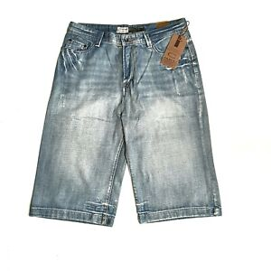 Chisel mens long denim shorts Bootcut faded distressed style NEW