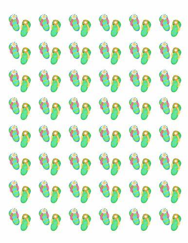 """48 FLIP FLOPS ENVELOPE SEALS LABELS STICKERS 1.2/"""" ROUND ."""