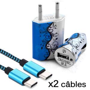 Chargeur (HF25) Secteur Voiture + 2 Câbles USB Type C pour Blackview BV9600 Pro