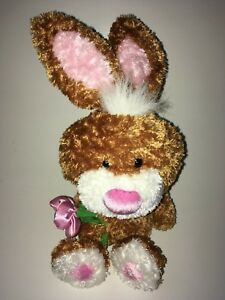 Dan-Dee-Brown-White-And-Pink-Bunny-Holding-A-Flower-12-034-Plush-Stuffed-Animal