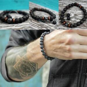 Maenner-Heilung-Yoga-Perlen-Armband-8mm-Lava-Stein-Meditation-Mala-Perlen-Z7H0