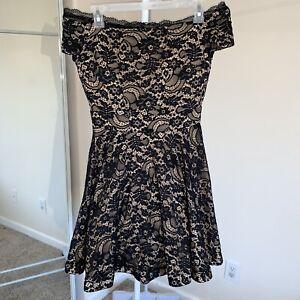 B-Darlin-Juniors-Black-Lace-Dress-Off-Shoulder-Short-Size-7-8