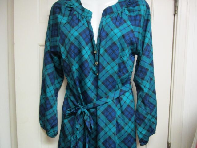 Green//Navy Shirtdress by Mud Pie Size Large NWT