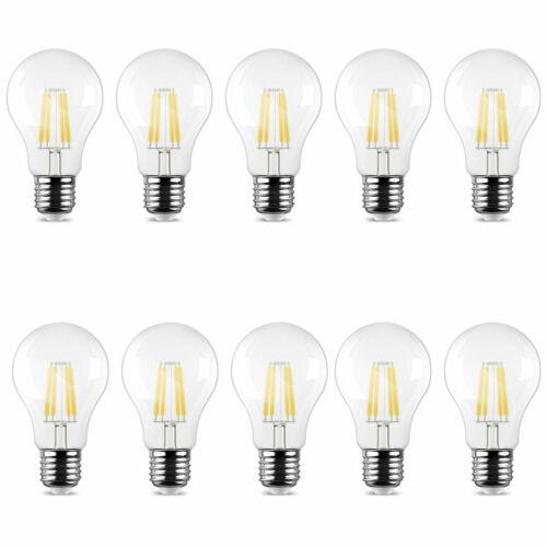 10 X Saver Set E27 6W LED Filament Illuminant 600 Lumens Cold White Bulbs Lamp