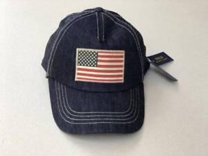 420888f210020 Ralph Lauren Polo US Flag Trucker Hat Cap Denim Blue One Size NEW