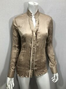 Agora-Crinkle-Size-Small-Blouse-Bronze-Stretch-Covered-Buttons-Mandarin-Collar