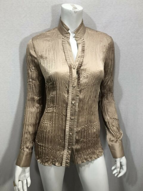 Agora Crinkle Size Small Blouse Bronze Stretch Covered Buttons Mandarin Collar