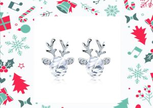 Ohrringe-Silber-Rentier-Damen-Ohrstecker-Strass-Kristall-Weihnachten-Geschenk