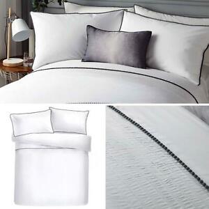 White-Duvet-Covers-Pom-Pom-Trim-Pleated-Luxury-Quilt-Cover-Bedding-Sets