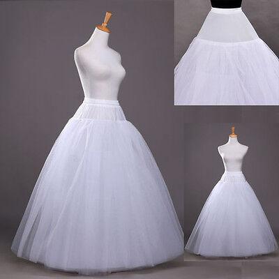 A-Line White No-Hoop Long Petticoat/Underskirt/Slip Crinoline Prom/Wedding New