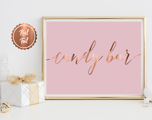 Pink wedding print sign lolly bar Wedding Signs Copper Foil candy bar poster