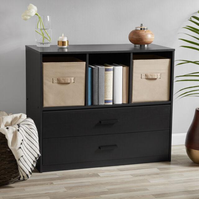 Black Oak Dual-Drawer Dresser W/ 3 Open Cube Storage Bedroom Organizer  Furniture