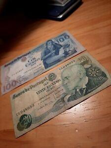 Collection/Set of antique 'Banco de Portugal' Portuguese Escudos Banknotes 120E
