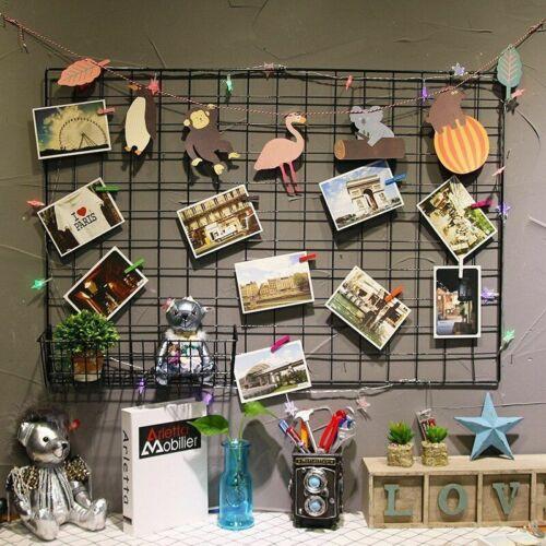 Storage Holder Rack Clip Photo Nordic Metal Mesh Wall Hanging Collage Display